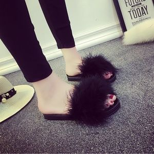 Shoes - New Womens Feather Slide Sandals Black Shoes 8